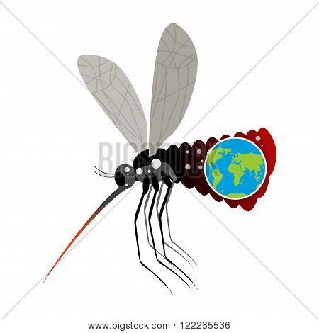 Mosquito Virus Zika. Big mosquito overtook planet Earth. Big belly from insect. Epidemic on Earth. Large stand-alone mosquito on white background. terrible disease poster