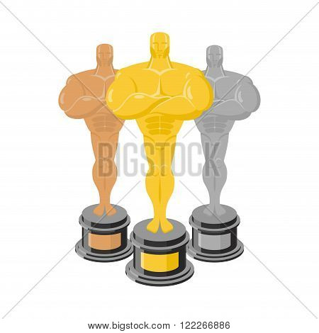 Golden Statuette. Set Of Statuettes For Rewarding. Gold, Silver, Bronze Statuette. Gold, Silver And