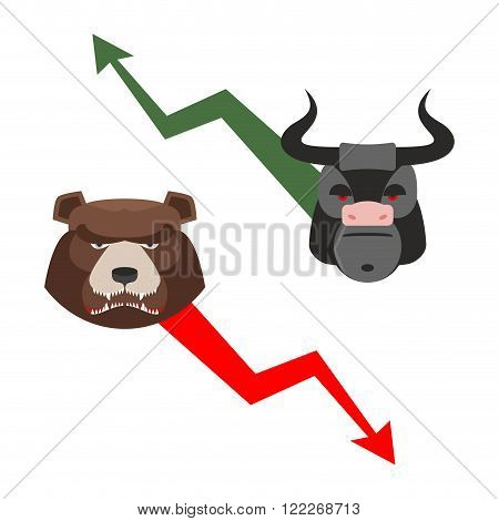 Bull And Bear. Traders Allegory. Green Up Arrow-increase Shares. Red Down Arrow Drop Quotes. Angry B