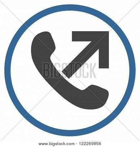 Outgoing Call vector bicolor icon. Picture style is flat outgoing call rounded icon drawn with cobalt and gray colors on a white background.