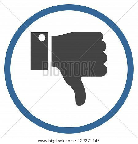 Thumb Down vector bicolor icon. Picture style is flat thumb down rounded icon drawn with cobalt and gray colors on a white background.