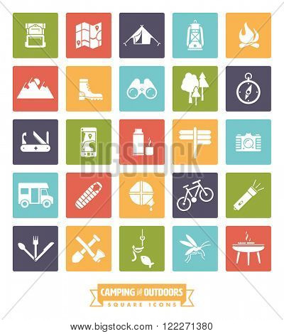 Camping, hiking and outdoor pursuits vector icons in colored rounded squares