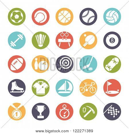 Sports round icon set. Collection of 25 colored sports and gymnastics vector icons in circles
