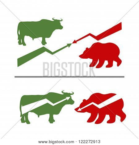 Bull And Bear. Rise And Fall Of Securities. Green Bull. Red Bear. Confrontation Between Traders On S