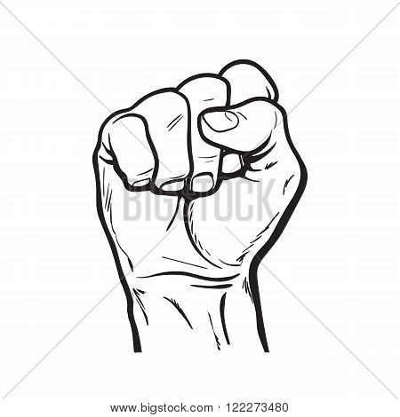 Hand showing a fist. Vector hand. Hand drawn fist. Hand shows the strength, power, victory. The symbol of strength, freedom, and rights.
