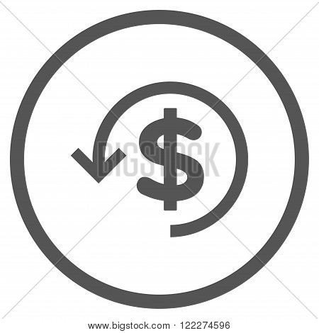 Rebate vector icon. Picture style is flat refund rounded icon drawn with gray color on a white background.