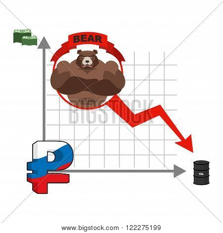 Bear And Graph Of Fall Of Russian Ruble. Fall Of Quotations Of Money In Russia. Infographics For Bus