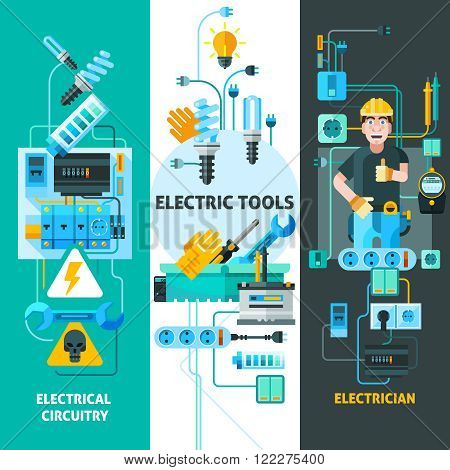 Electricity vertical banners set with electric circuitry symbols flat isolated vector illustration