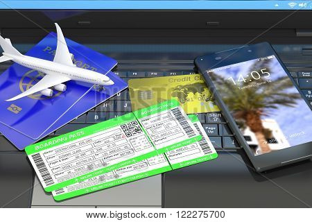 Buying air tickets online, travel and booking concept