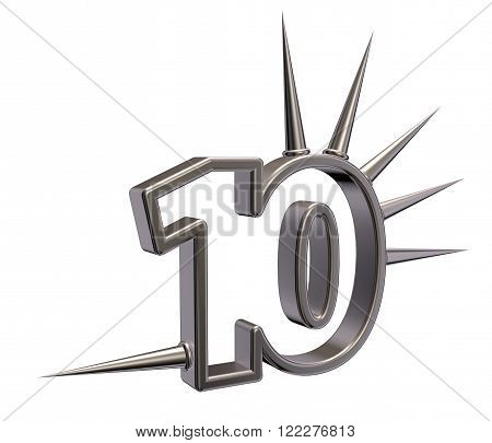 number ten with prickles on white background - 3d illustration poster
