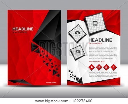 Red business brochure flyer design layout template brochure design templatescover design Annual report polygon background cover templatebookleafletvector template