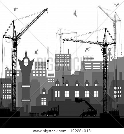 Industrial European Vintage Styled City Under Construction On Bright Red Sunset Background. Vector I