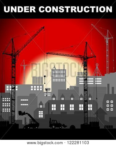 """under Construction"" Concept In Industrial European Vintage Styled City Under Construction On Bright"