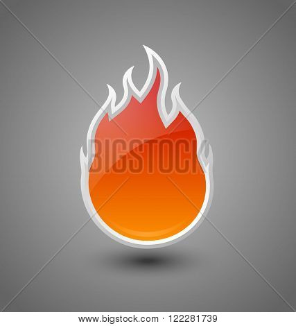 Glossy fire icon on dark grey background