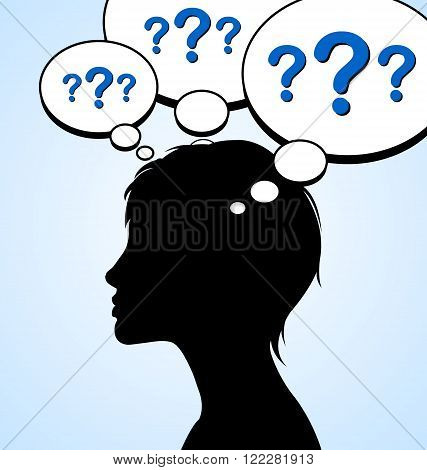 Woman silhouette with question marks in mind bubbles isolated on light blue background