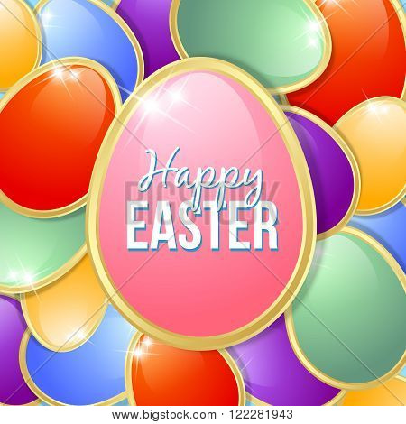 Colorful and glossy Easter eggs greetings card template