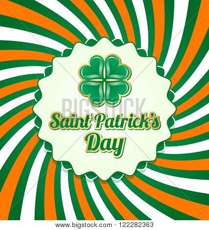 Saint Patrick's Day badge on twisted Irish background