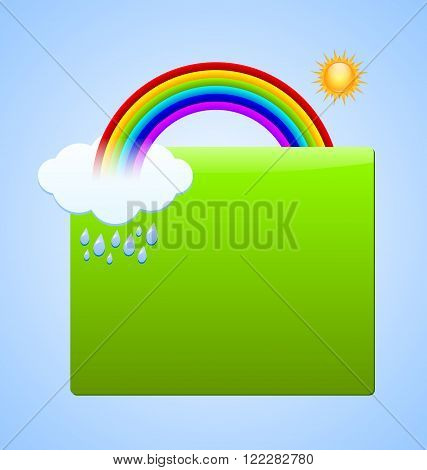 Green plaque for your custom text with rainbow sun cloud and rain drops