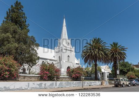 SOMERSET EAST, SOUTH AFRICA - FEBRUARY 19, 2016: The cornerstone of the Dutch Reformed Church in Somerset East was laid on 25 Desember 1830