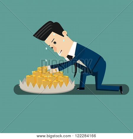 Finance risk concept. young business man look at money on trap.