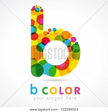 Communication business B logo colorful vector template. Colored B logo