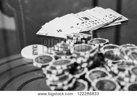 Poker player. Young guy in the casino at the gaming table. Man gambling, card games. Cards, chips, whiskey, cigarettes, poker, card game, gambling - gambling concept. poster