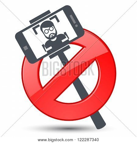 Selfie not allowed - prohibitory sign with stick selfie and smartphone