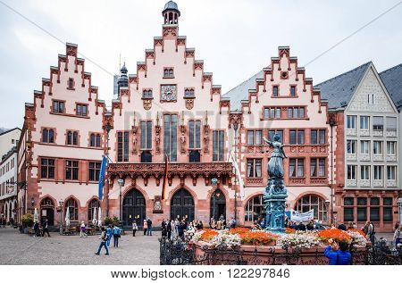 FRANKFURT, HESSE-February 12 : Old Town of Frankfurt am Main.Frankfurt is the largest city in the German state of Hesse and the fifth-largest city in Germany,February 12,2014 in Frankfurt, Germany.