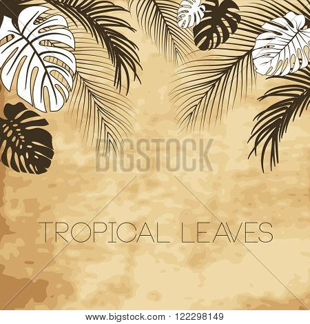 Tropical brown antique vintage style leaves background