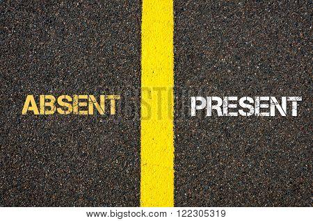Antonym Concept Of Absent Versus Present