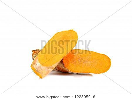 Yellow tumeric isolated on a white background.