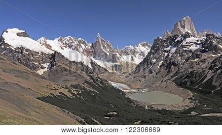 Patagonian Andes Panorama in Los Glaciares National Park in Argentina