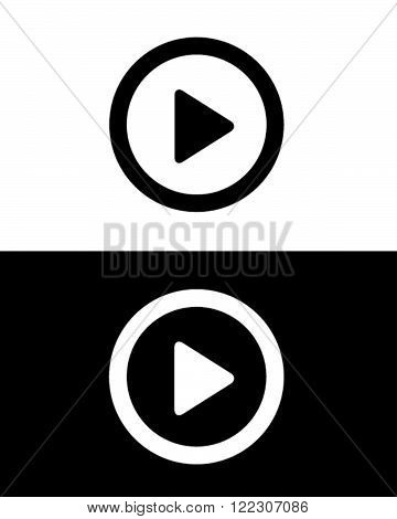 Vector Play Button Icon in Black and Reverse