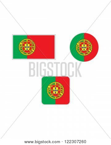 Vector Portugal Flag, Icon and Symbol Set