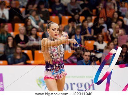 MOSCOW RUSSIA - FEBRUARY 20 2016: Veronika Pronchenko Lituania on Rhythmic gymnastics Alina Cup Grand Prix Moscow - 2016 on February 20 2016 in Moscow Russia