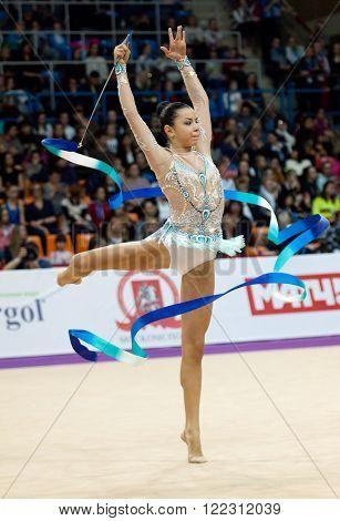 MOSCOW, RUSSIA - FEBRUARY 20, 2016: Svetlana Rudenko, Kyrgyzstan, on Rhythmic gymnastics Alina Cup Grand Prix Moscow - 2016 on February 20, 2016, in Moscow, Russia ** Note: Soft Focus at 100%, best at smaller sizes