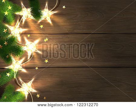 Christmas and New Year design template with wooden background star-shaped lights fir branches and confetti. Vector illustration eps10.