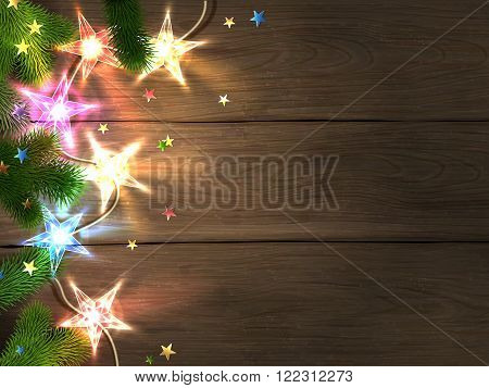 Christmas and New Year design template with wooden background colorful star-shaped lights fir branches and confetti. Vector illustration eps10.