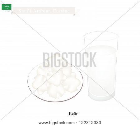 Saudi Arabian Cuisine Kefir or Fermented Milk Made of Milk and Tibetan Mushroom Grains. One of The Most Popular Drink in Saudi Arabia.