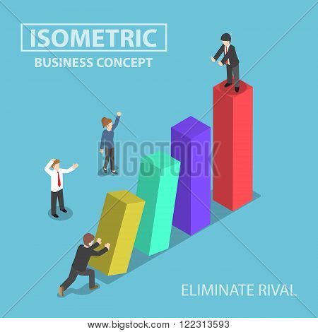 Isometric Businessman Eliminate His Rival By Pushing Bar Graph