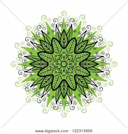 Mandala Round Colorful Zentangle Ornament Pattern. Stock Vector Illustration