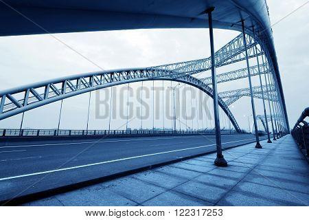 Chinese modern building bridges, blue tone picture