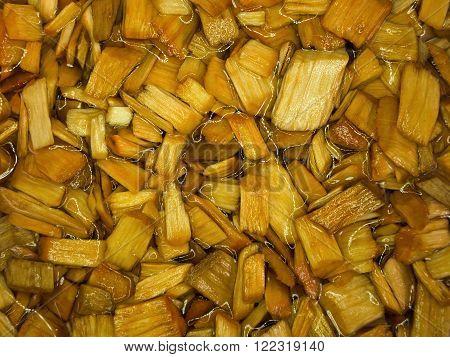 Alder wood chips in water. Alder chips used for smoking