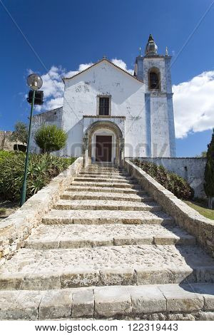 Facade of the Church of Saint Mary inside the walls of the castle of Torres Vedras Portugal