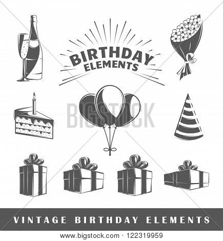 Birthday icon. Black icon birthday. Icon of birthday sign. Isolated birthday icon. Birthday vector icon. Design element. Birthday icon for design. Vector illustration