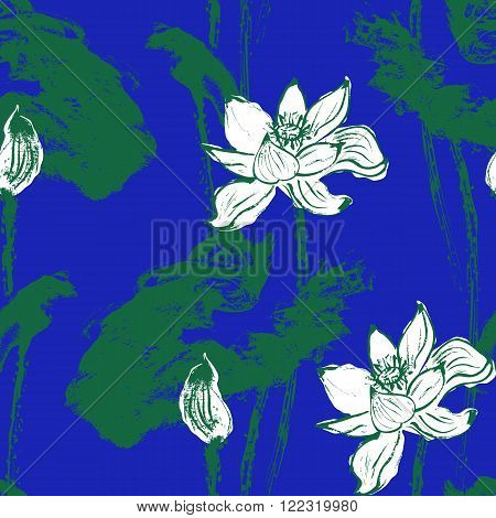 Watercolor lotus seamless Pattern. Blue background. Stock Vector Illustration