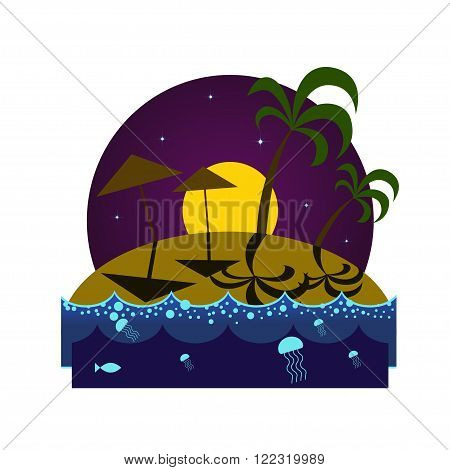 Tropical island beach at night with palms umbrellas shadows and glowing plankton under the moonlight