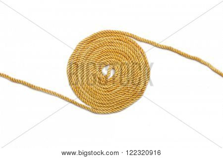Ball of hemp rope isolated on white background. Industrial background.