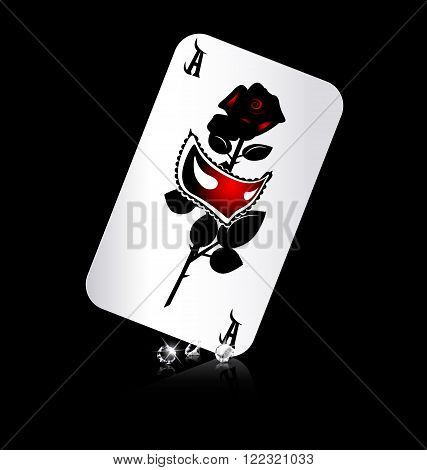 dark background and large ace with image of mask and rose