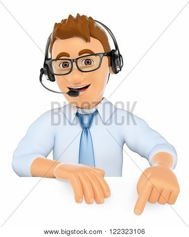 3d business people. Call center worker pointing down. Blank space. Isolated white background.